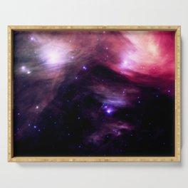 Galaxy : Pleiades Star Cluster nebUlA Purple Pink Serving Tray