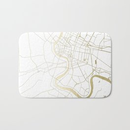 Bangkok Thailand Minimal Street Map - Gold Metallic and White II Bath Mat