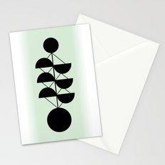 Scandinavian Retro Geometric Design Green Colors Stationery Cards