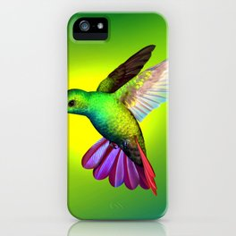 Amazing Fantastic Colorful Exotic Kolibri Humming Bird Hovering Close Up Ultra HD iPhone Case