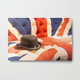 Black Bowler Hat on Union Jack Chesterfield Sofa Metal Print