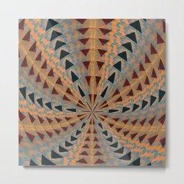 Triangle Meditation Pulse Geometric in Mahogany, Subtle Neon and Black Metal Print