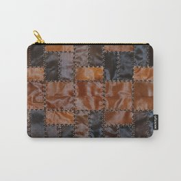 Cowhide leather abstract vintage cow skin check patches Carry-All Pouch