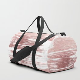 White elegant faux rose gold modern brushstrokes Duffle Bag