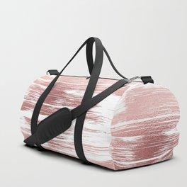 White elegant faux rose gold modern brushstrokes Duffle Bag