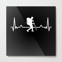 Hiking Hiker Heartbeat Line Funny Gift Metal Print