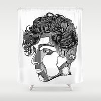 danny ivan Shower Curtains featuring Danny by Alastair Vanes