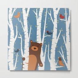 Bear and Birches Metal Print