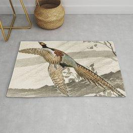 Pheasant flying down from the tree - Vintage Japanese woodblock print art Rug