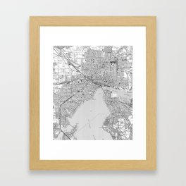 Vintage Map of Jacksonville Florida (1950) BW Framed Art Print