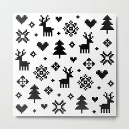 PIXEL PATTERN - WINTER FOREST Metal Print