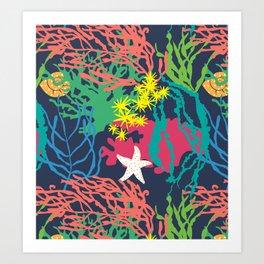 Coral Reef in Navy Art Print