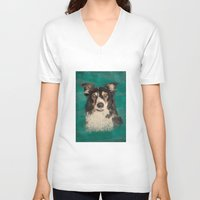 border collie V-neck T-shirts featuring Quinn the Welsh border collie by Carl Conway