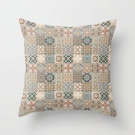 N49 - Oriental Traditional Moroccan Farmhouse Style Texture Artwork. Throw Pillow