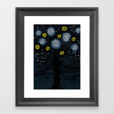 Dark Flower Tree Framed Art Print