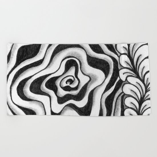 Doodled Rose & Vine Beach Towel