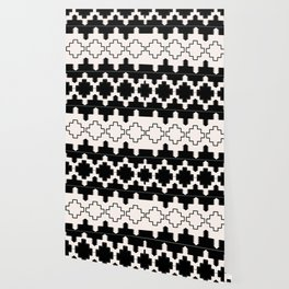 Rustic Native Indian black and white pattern Wallpaper