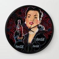 coca cola Wall Clocks featuring COCA-COLA by Bianca Lopomo