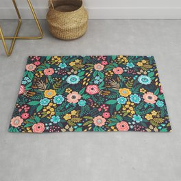 Amazing floral pattern with bright colorful flowers, plants and berries. Rug