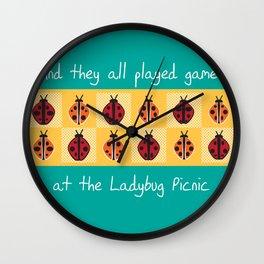 Ladybug Picnic Wall Clock