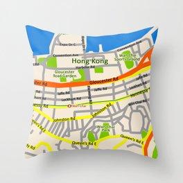 Hong Kong Map design Throw Pillow