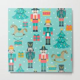 Colorful Christmas symbols pattern Nutcracker Metal Print