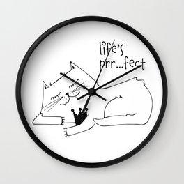 Scandinavian style cat and crown art print Wall Clock