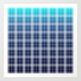 Deep Blue Sea Tartan Plaid Check Art Print