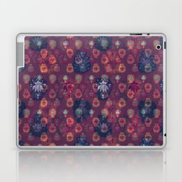 Lotus flower - orange and blue on mulberry woodblock print style pattern Laptop & iPad Skin