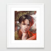 snk Framed Art Prints featuring Levi SnK by x3uu