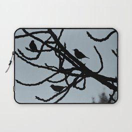 Sparrows Birds Tree Bare Branches Silhouette Laptop Sleeve