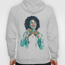 Groovy afro chic woman holding gold headphones Hoody