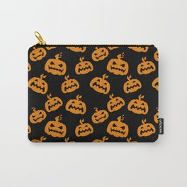 Abstract black bright orange halloween pumpkin pattern Carry-All Pouch