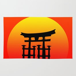 Sunset and Torii in Japan Rug