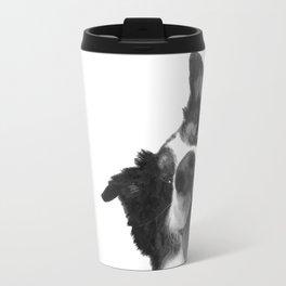 Black and White Happy Dog Travel Mug