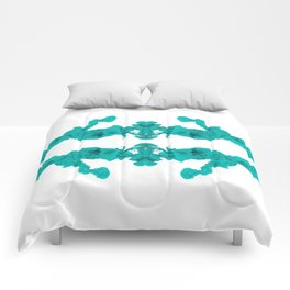 Cyan Ink Drop In Water Comforters