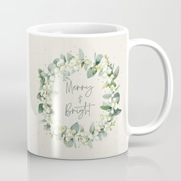 Cream Merry and Bright Snowberry and Eucalyptus Christmas Wreath Coffee Mug
