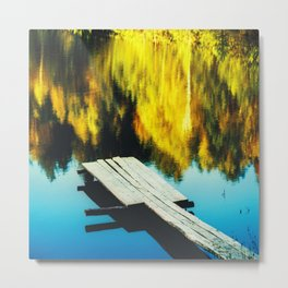 Autumn Pool, Clor Film Photo, Analog Metal Print