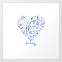 biology Art Prints featuring i heart biology by lucylamplight