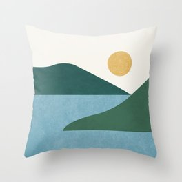 Sunny Lake - Abstract Landscape Throw Pillow