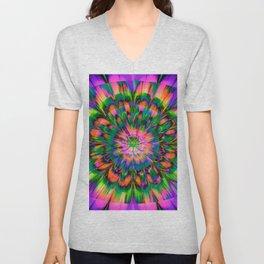 Abstract Flower Unisex V-Neck