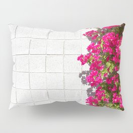 Bougainvilleas and White Brick Wall in Palm Springs, California Pillow Sham