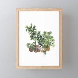 House Plants Watercolor Illustration 6 Framed Mini Art Print