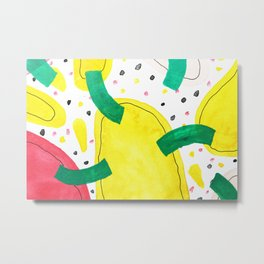 Abstract watercolor, shaped like a colorful virus Metal Print