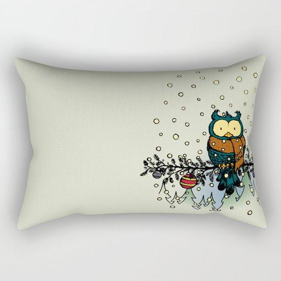 Owl in the snow v2 Rectangular Pillow