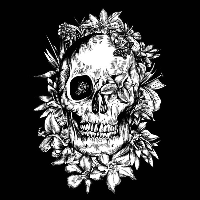 floral skull drawing black and white 2 Comforters