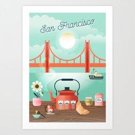 Tea by the bay Art Print