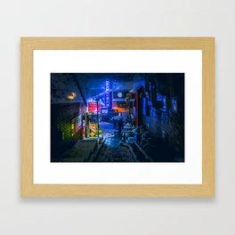From My Umbrella - Alley at Snowy Night Framed Art Print