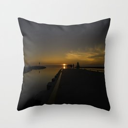 Sunset at the Pier Throw Pillow
