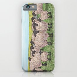 Suffolk sheep in a field with poppies iPhone Case